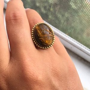 GOLD Plated Vintage Tigereye Stone Ring